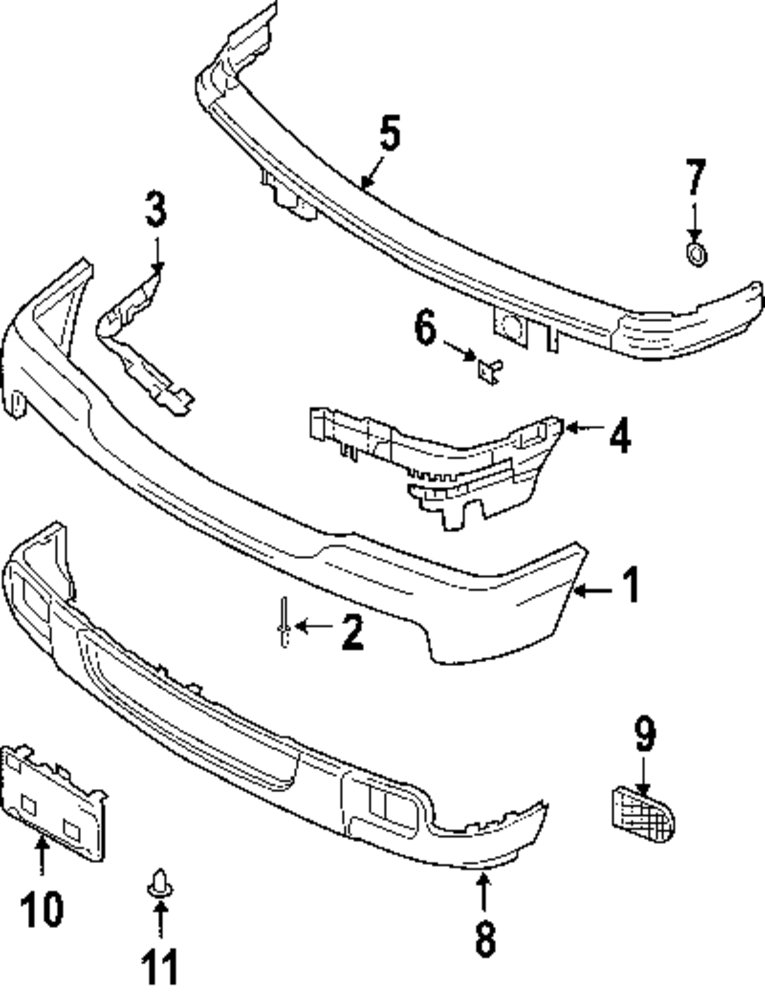 2009 FORD RANGER Bumper And Components Parts
