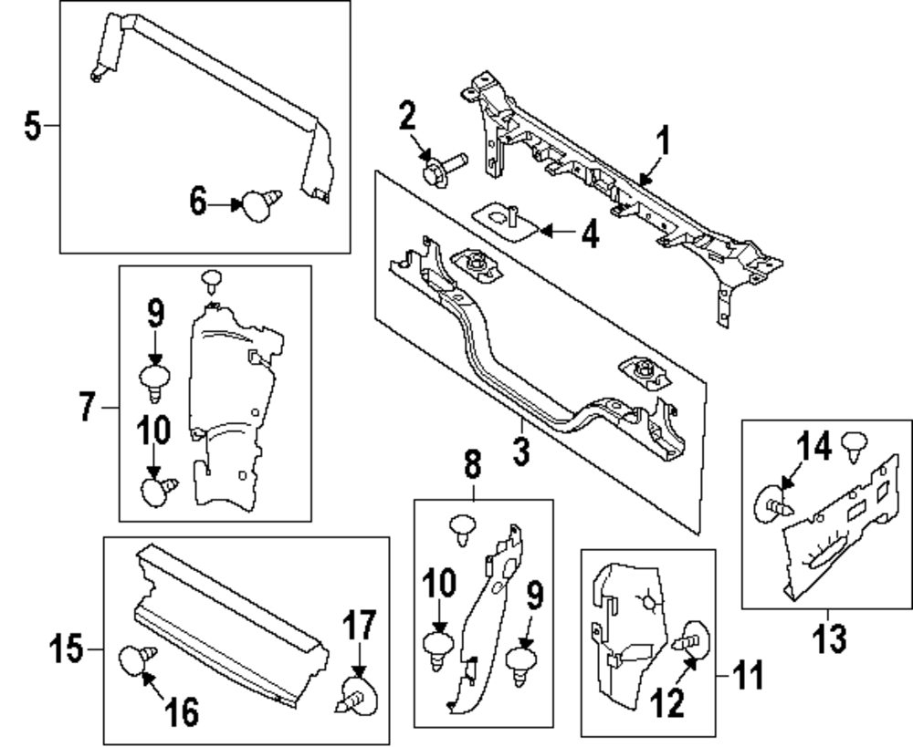 2001 Ford Excursion Radiator Support Diagram. Ford. Auto