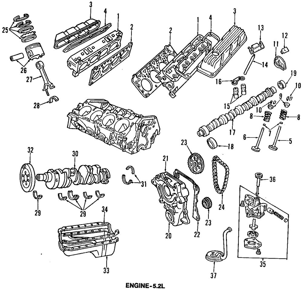 1993 DODGE RAMCHARGER Crankshaft And Bearings Parts