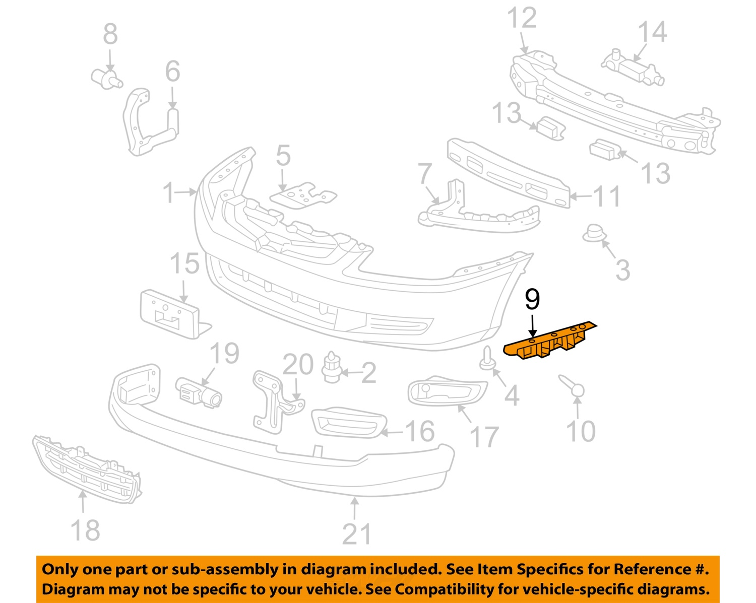honda accord parts diagram holden colorado radio wiring oem 03 07 front bumper side support bracket