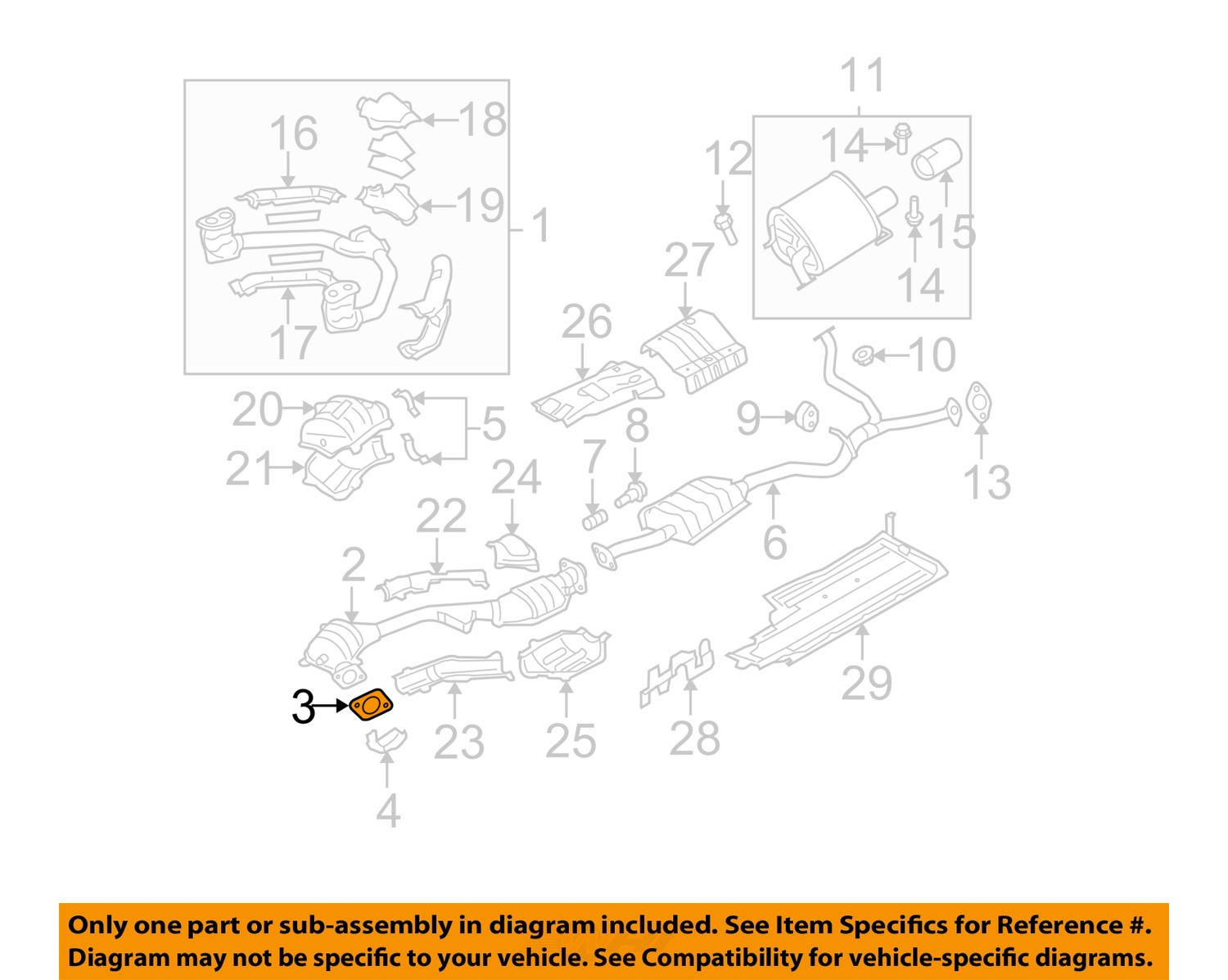 2005 subaru outback exhaust system diagram kenmore he2 plus washer parts oem 2 5l h4 catalytic