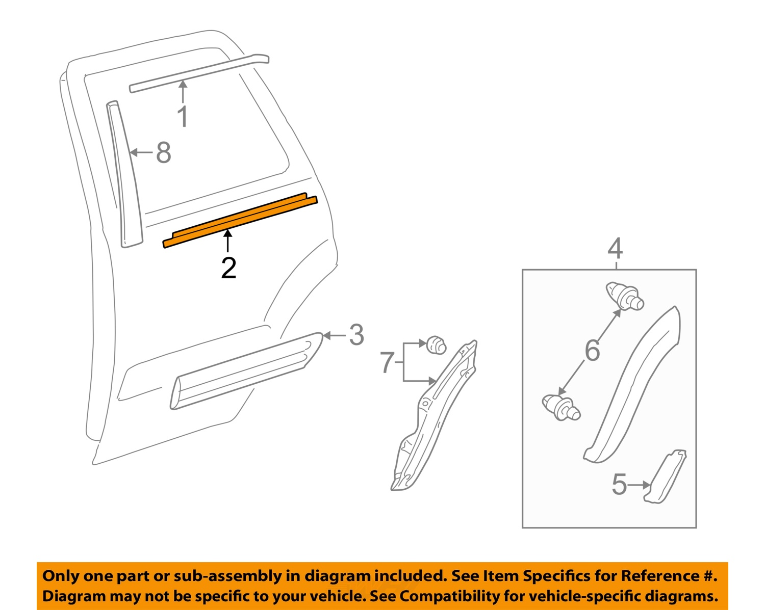2003 toyota sequoia parts diagram human eye simple oem rear window door belt molding
