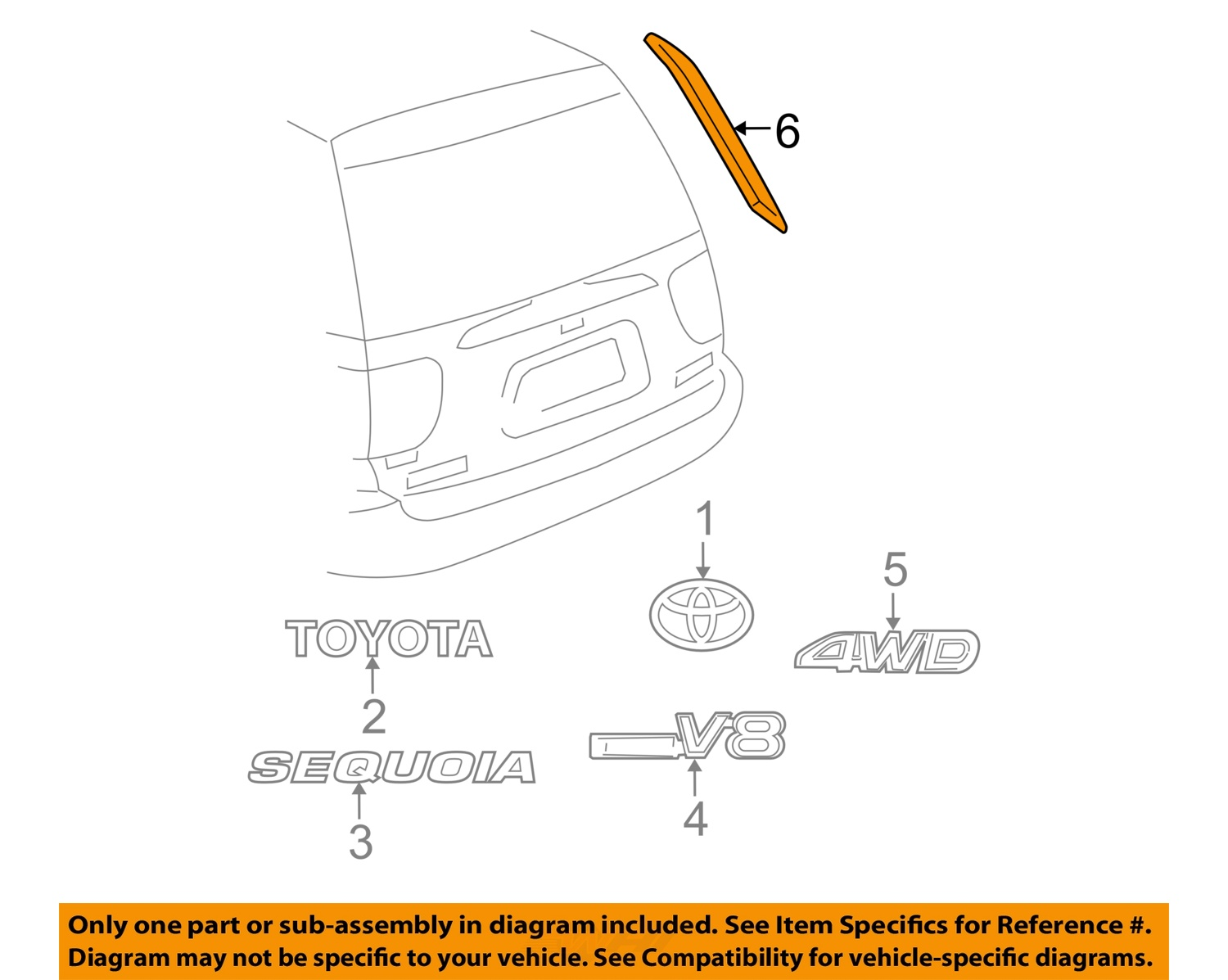 2003 toyota sequoia parts diagram usb to serial wiring oem 01 07 liftgate tailgate upper molding