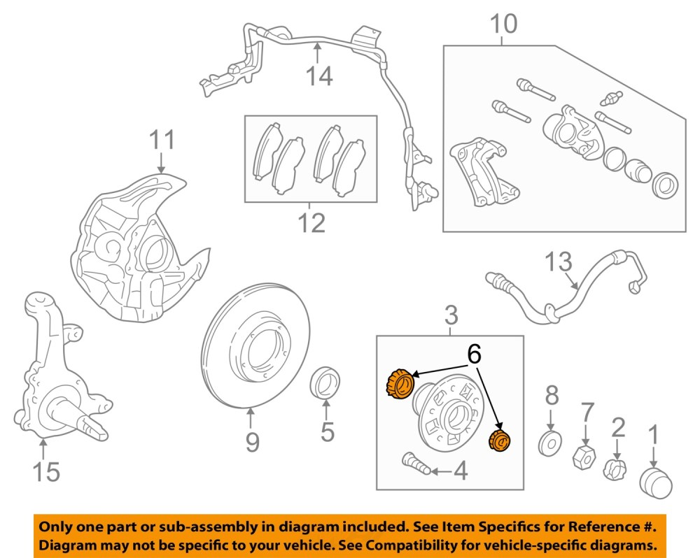 medium resolution of toyota oem 95 04 tacoma axle bearing and hub assembly 2003 toyota tacoma parts diagram 2013
