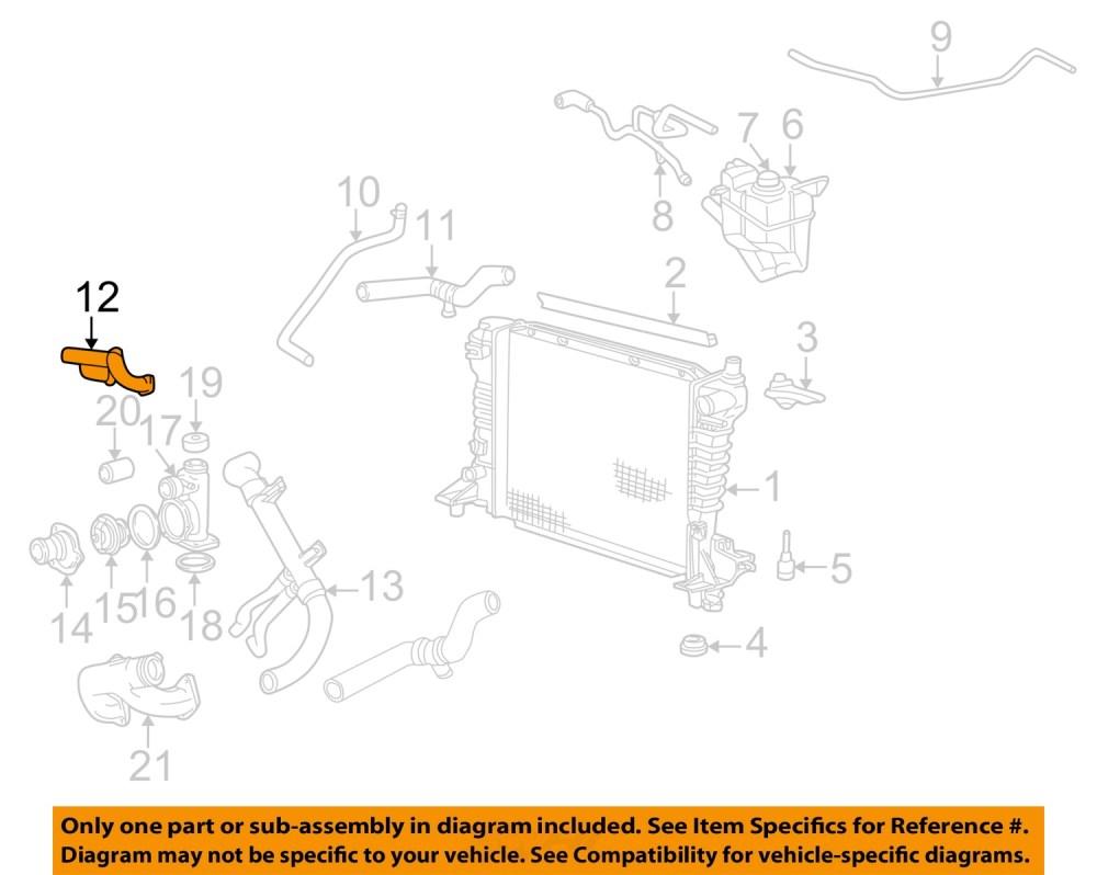 medium resolution of ford oem 02 05 thunderbird 3 9l v8 radiator upper pipe xw4z8a520af