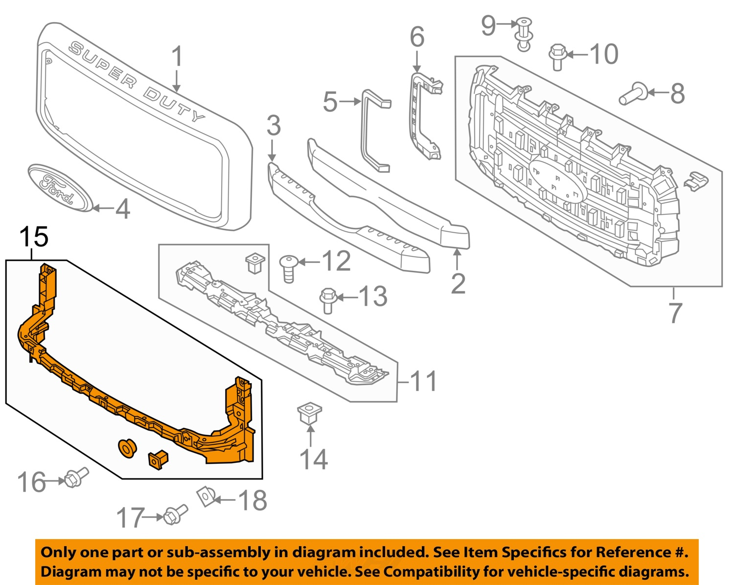 hight resolution of ford oem 11 16 f 350 super duty grille grill lower mount bracket bc3z17a792b ebay ford f 350 parts diagram cab lights ford parts lookup diagrams