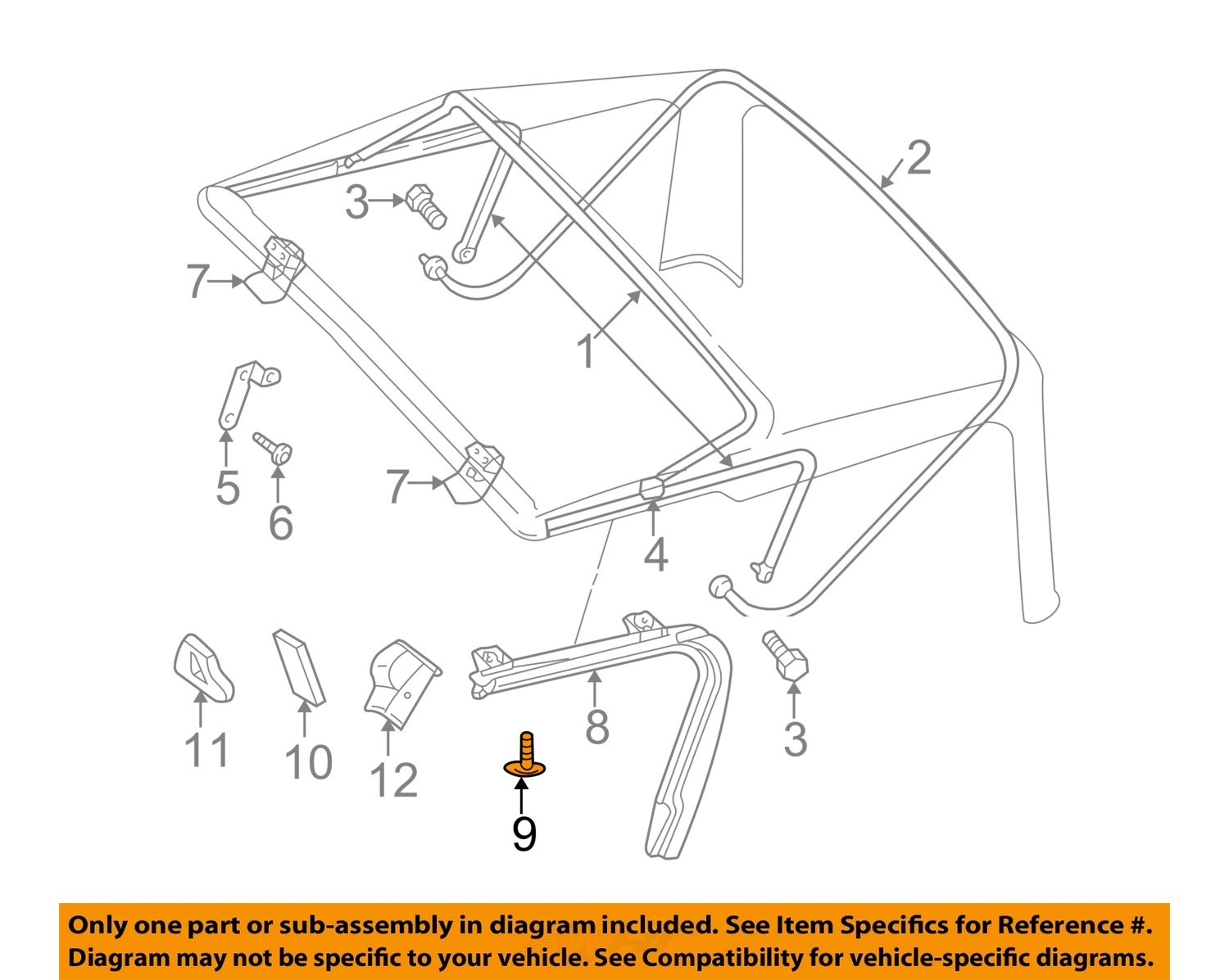 parts of a window frame diagram 7 1 home theater circuit jeep chrysler oem 97 06 wrangler convertible soft top