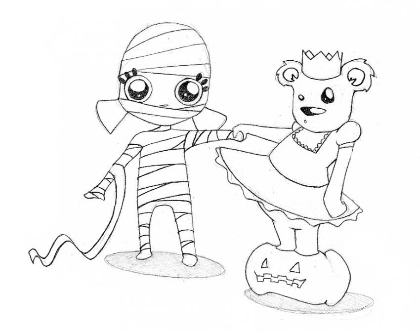Dibujo De Momia Para Pintar En Halloween