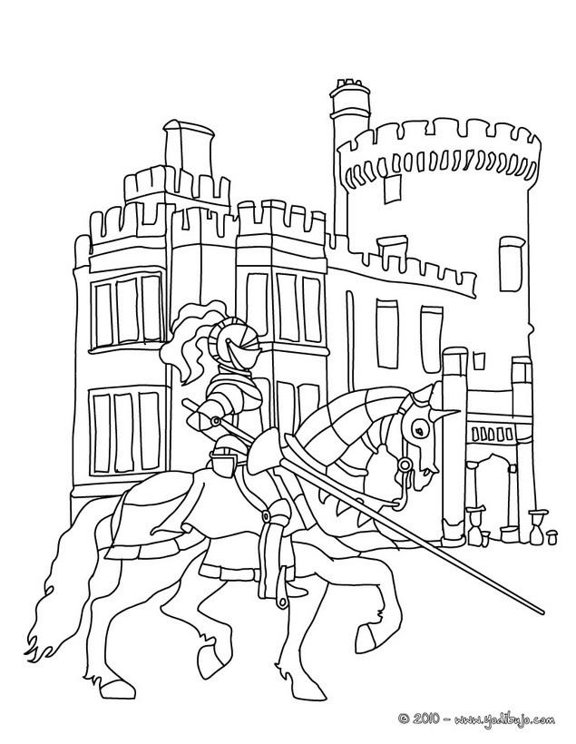 Dibujo Para Colorear Caballero Con Armadura