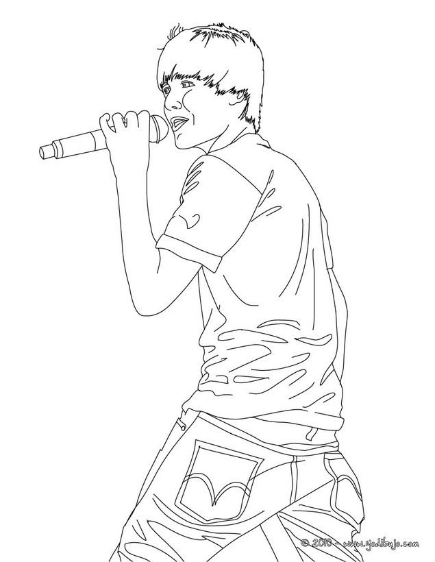 Dibujos Para Colorear Justin Bieber Cantando
