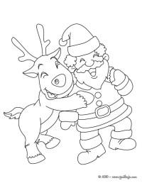 Dibujos para colorear santa claus con el reno rodolfo