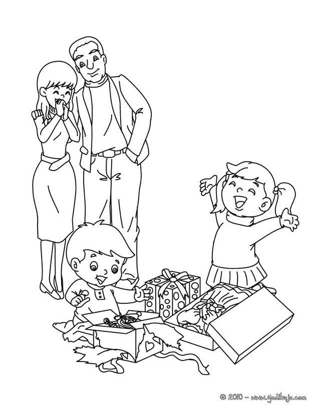 Dibujo de Navidad: Padres y hijos para colorear
