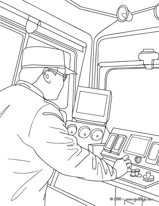 Dibujos Para Colorear Conductor De Tren Electrico