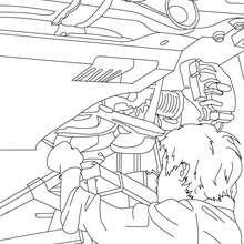Dibujos para colorear un mecanico cambiando la rueda del