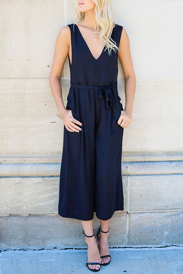 Navy Deep V-neck Sleeveless Jumpsuit