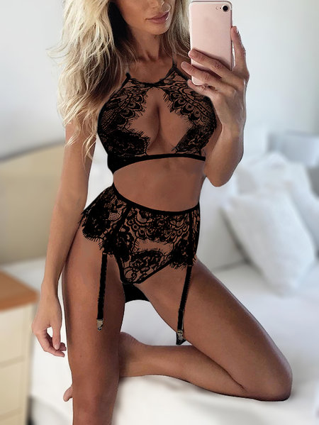 Black Sexy Eyelash lace Hollow Out Front Lingerie Set
