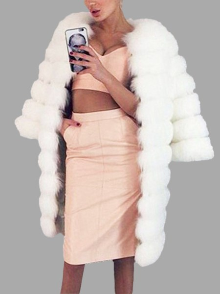 White Fashion Long Sleeves Open Front Fur Outerwear