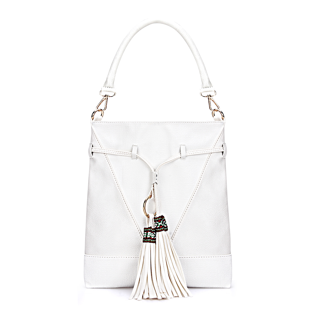 White Leather-look Embroidered Tassel Shoulder Bag with