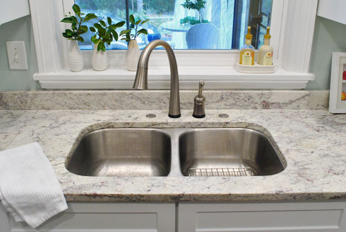 Filling those sink holes in granite counters for soap dispensers storing their soap on the counter could easily hide the hole covers again if thats more their style we actually really like the more open look though workwithnaturefo