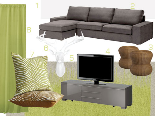 green mood board for colorful living room including sectional sofa, white stag head, tv stand, curtains, and zebra print pillows