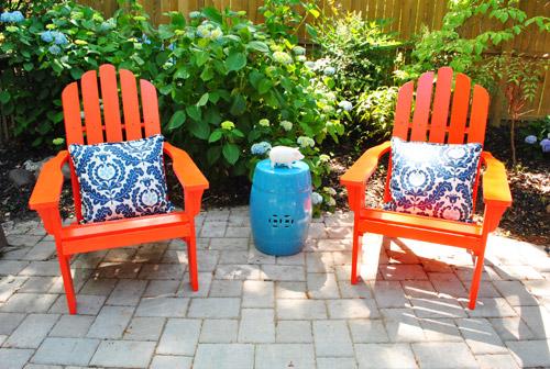 adding bright red adirondack chairs to