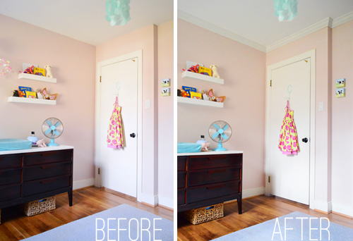 Before And After Of Pink Girlu0027s Bedroom With And Without Crown Molding On  Ceiling