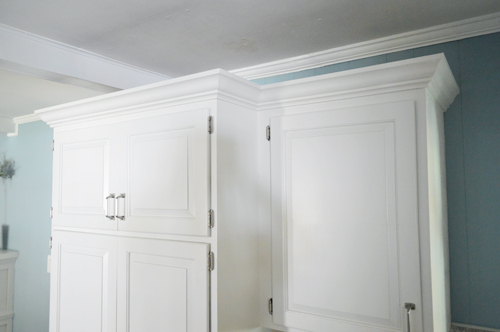 kitchen cabinet crown molding space saver table and chairs how to add the top of your cabinets young house love you may remember that few upper in our have lived a very humble life so far