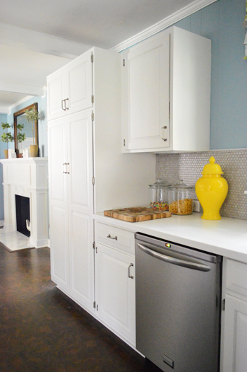how to add a pantry your kitchen coastal rugs crown molding the top of cabinets young house love
