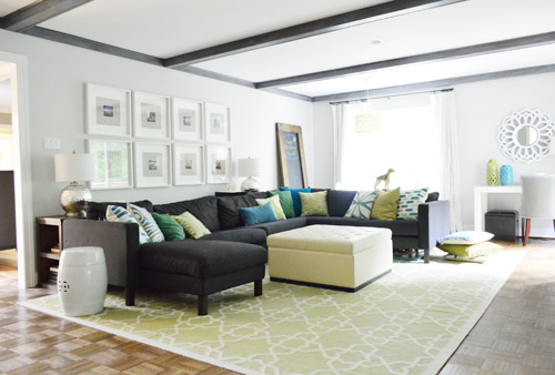 Trim: Olympic No VOC Off The Shelf White Paint In Semi Gloss. Beams: Shaker  Gray 1594 By Benjamin Moore, Color Matched To Olympic No VOC Paint In Satin  ...
