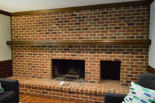 Superior Dark Living Room Brick Wall With A Fireplace From 1980s Home