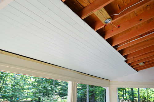 how to install a wood plank ceiling