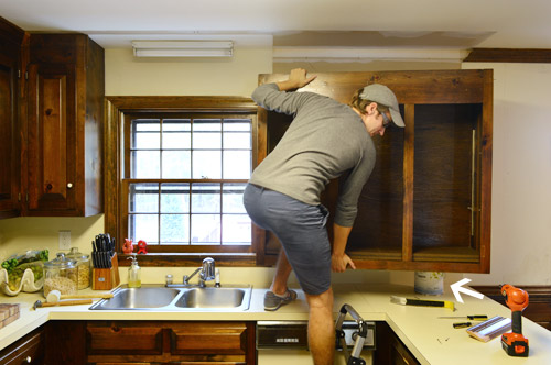 In the first article on how to remove kitchen cabinets, we covered: Removing Some Kitchen Cabinets Rehanging One Young House Love