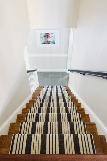 Black And White Stair Runner Installation After Photo Looking Down The  Stairs