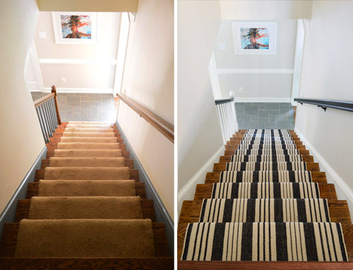 side by side before and after of old staircase with new updates