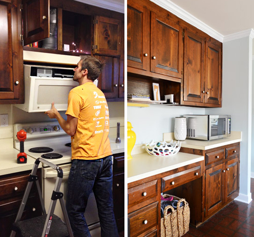 hanging microwave with a range hood