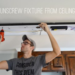 Replace Fluorescent Light Fixture In Kitchen Paper Towel Dispenser How To Lighting With A Pendant Young Now The Only Thing Holding Up Were Two Big Screws On Either End Once I Unscrewed Those