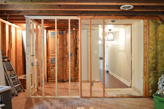 The next step construction-wise is going on right now which is getting those remaining two walls framed \u2013 both the one to close off the laundry room ... & Demoing \u0026 Reframing The Laundry Room | Young House Love
