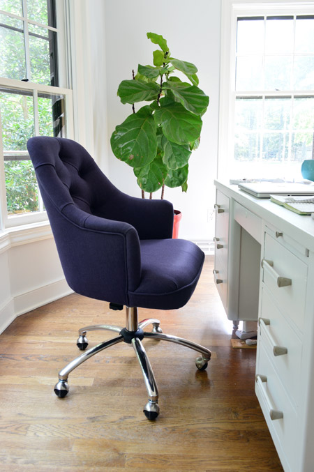 tufted desk chair trestle table something old new borrowed blue young house love
