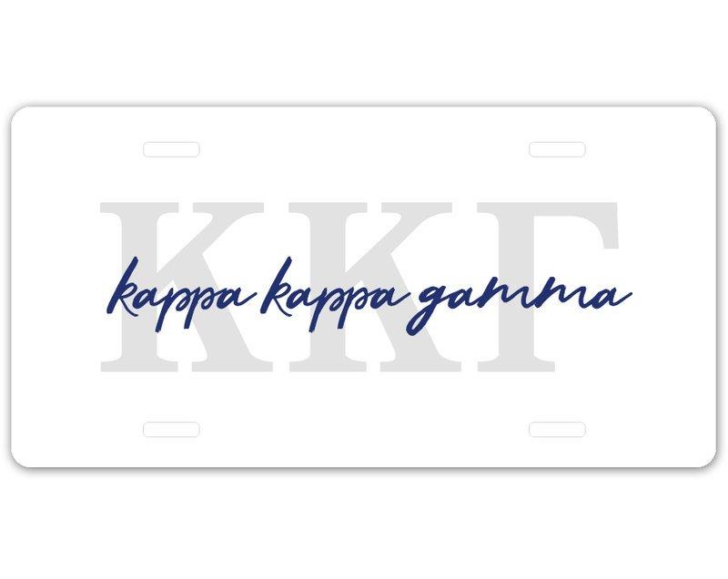 Kappa Kappa Gamma Letter Script License Plate SALE $19.99