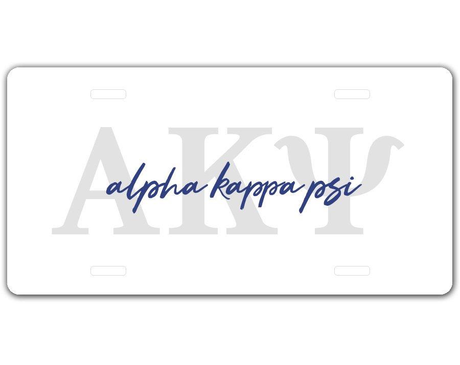 Alpha Kappa Psi Letter Script License Plate SALE $19.99