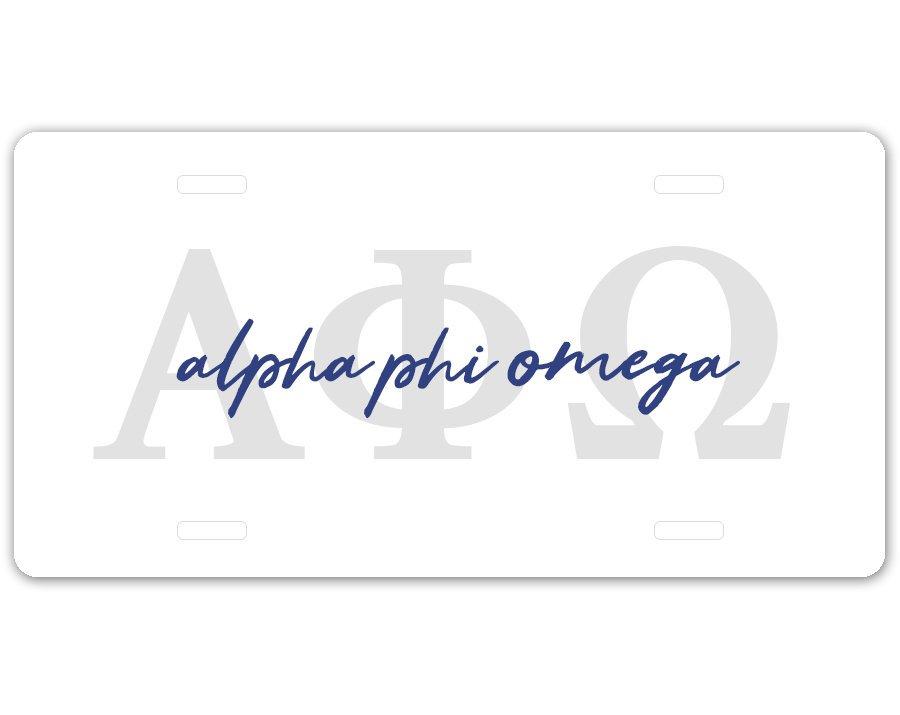Alpha Phi Omega Letters Script License Plate SALE $19.99