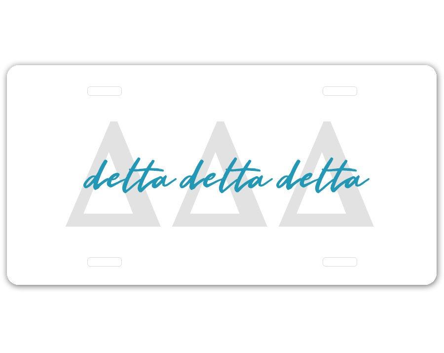 Delta Delta Delta Letter Script License Plate SALE $19.99