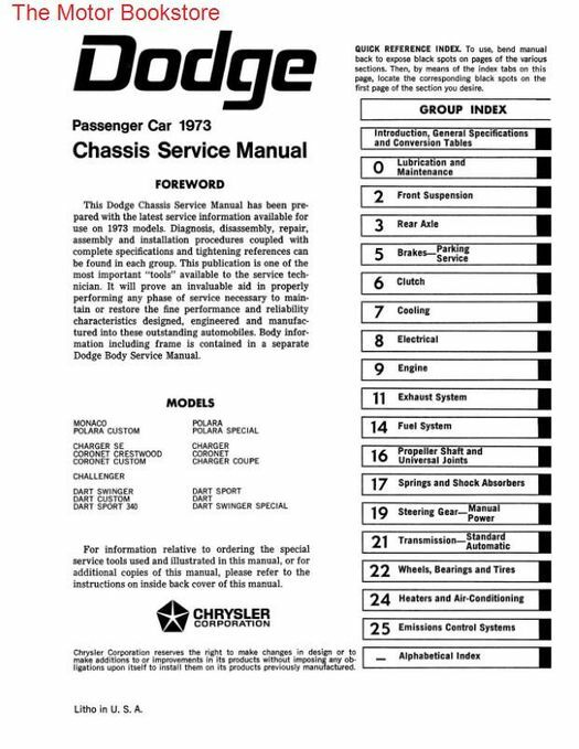 1973 Dodge Challenger, Dart, Charger Chassis Service Manual