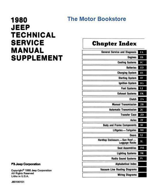 1980 Jeep Technical Service Manual Supplement, 2.5L, CJ-5