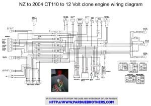Wiring diagram for a Lifan conversion  Honda Trail  CT90