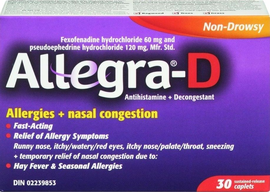 Allegra-D Allergy Nasal Congestion box of 30 {Imported ...