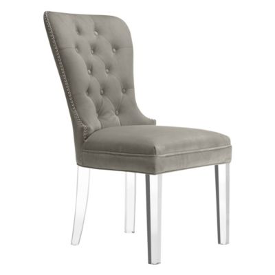 grey dining chairs polyester banquet chair cover white room chic sleek z gallerie charlotte acrylic