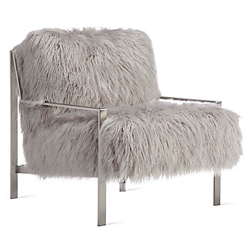 Axel Fur Accent Chair  Brushed Silver  Axel Sequoia