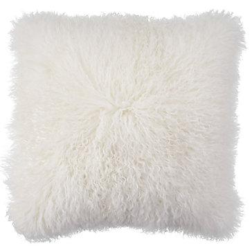 White Mongolian Fur Pillow  Chic Accents  Decor  Z Gallerie