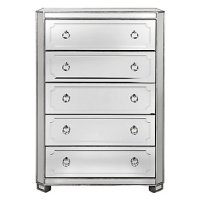 Simplicity Mirrored 5 Drawer Tall Chest | Amethyst ...